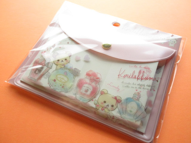 Photo1: Kawaii Cute Mini Letter set with Case Set San-x *Korilakkuma in the mirror (MW68801)