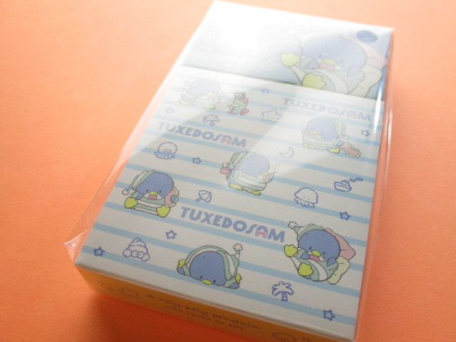 Photo1: Kawaii Cute Mini Memo Pad & Sticker Flakes Set Sanrio Original *TUXEDO SAM (86183-9 TS)