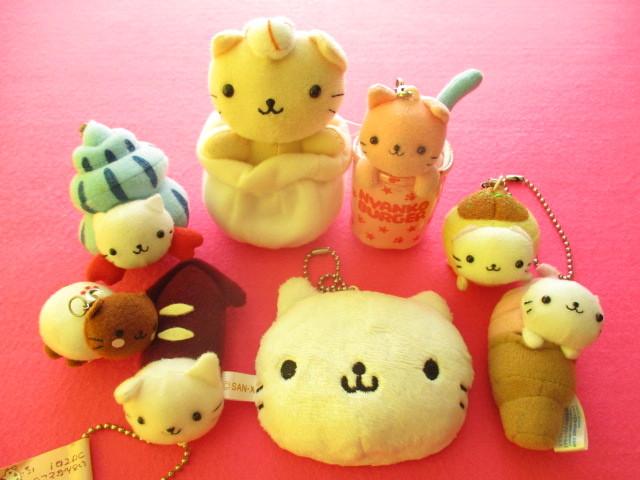Photo1: 8 pcs Kawaii Cute Nyan Nyan Nyanko Mini Charms & Plush Doll Set San-x