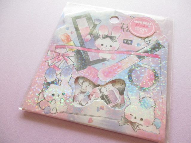 Photo1: Kawaii Cute Sticker Flakes Sack Crux *Fluffy Rabbits (73001)