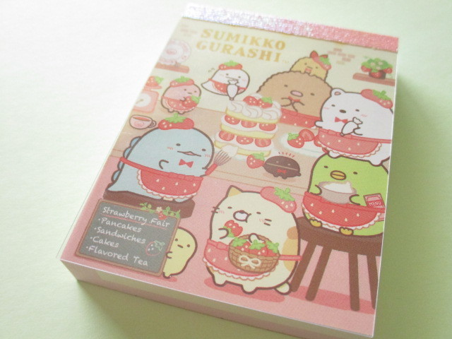 Photo1: Kawaii Cute Mini Memo Pad Sumikkogurashi San-x *Strawberry Fair (MW58601-1)