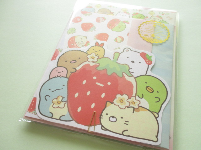Photo1: Kawaii Cute Regular Letter Set Sumikkogurashi San-x *Strawberry Fair (LH69201)
