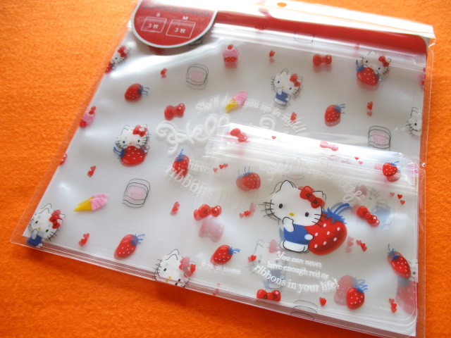 Photo1: 6pcs Kawaii Cute Zipper Bags Set Sanrio Original *Hello Kitty (25406-1)