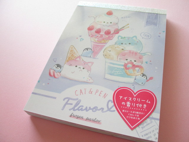 Photo1: Kawaii Cute Large Memo Pad Q-LiA *Cat & Pen Flavor (40363)