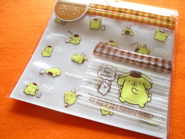 Photo1: 6pcs Kawaii Cute Zipper Bags Set Sanrio Original *POMPOMPURIN (25458-4)