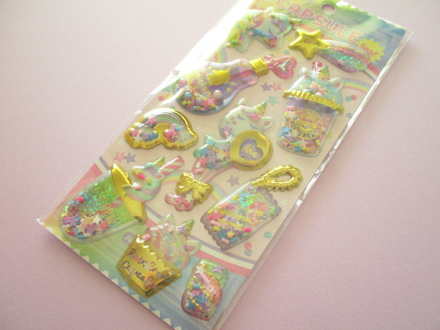 Photo1: Kawaii Cute Capsule Koeln Sticker Sheet Q-LiA *Unicorn Sweets (41098)