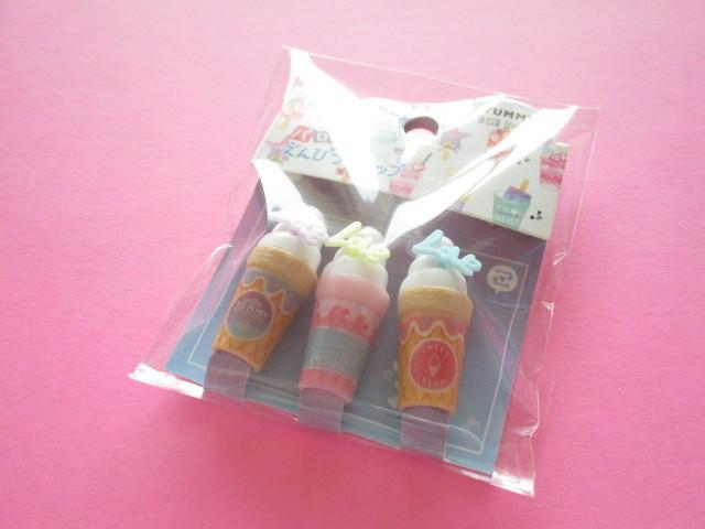 Photo1: 3 pcs Kawaii Cute Parody Pencil Caps Set Crux *Yummy Ice (56792)