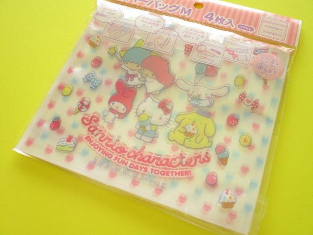 Photo1: 4pcs Kawaii Cute  Sanrio Characters Medium Zipper Bags Set (ZBM-MIX)