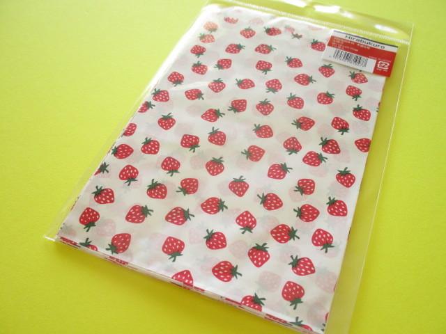 Photo1: 10 pcs Kawaii Cute Strawberry Design Flat Paper  Bags Set *Size M