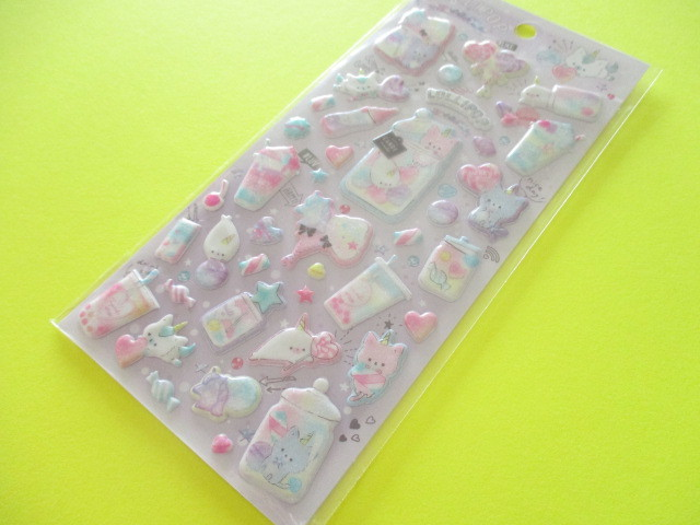 Photo1: Kawaii Cute Aurora Glitter Sponge Stickers Sheet Q-LiA *ロリポップホリック (41137)
