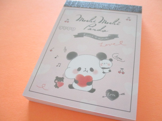 Photo1: Kawaii Cute Mini Memo Pad Mochi Mochi Panda Kamio Japan *Heart  Mochi (27310)