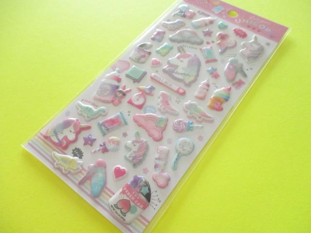 Photo1: Kawaii Cute Aurora Glitter Sponge Stickers Sheet Q-LiA *ユニコーンダストボックス (41136)