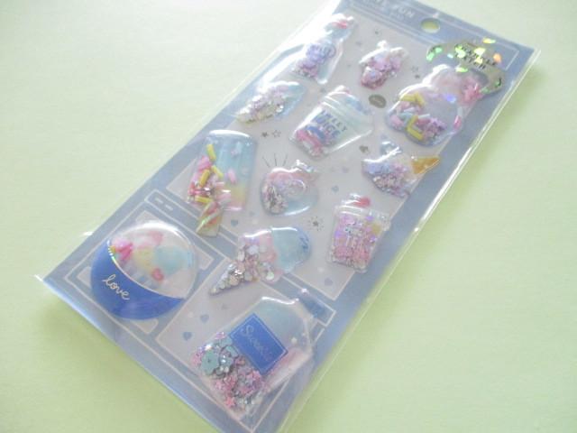 Photo1: Kawaii Cute Capsule Sparkle Catch Stickers Sheet Crux *Ice (73027)