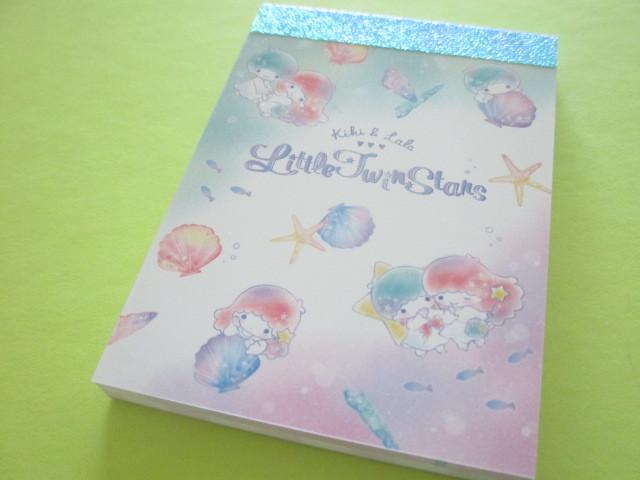 Photo1: Kawaii Cute Mini Memo Pad Little Twin Stars Sanrio *Kiki & Lala Shell (18084)
