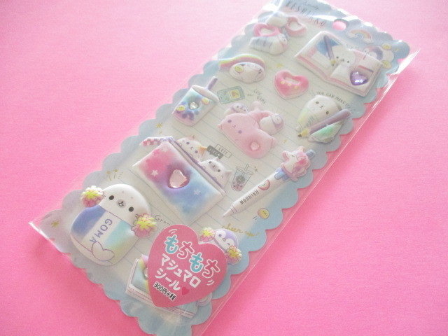 Photo1: Kawaii Cute Puffy Marshmallow Stickers Sheet Crux *Keshikko (73034)