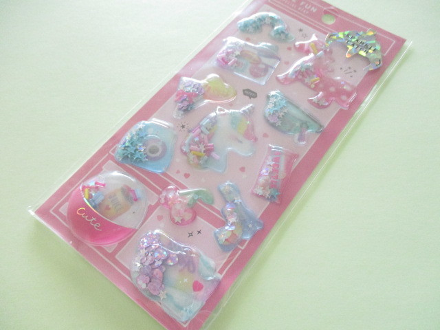 Photo1: Kawaii Cute Capsule Sparkle Catch Stickers Sheet Crux *Rainbow Trend (73028)