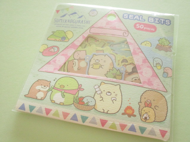 Photo1: Seal Bits Kawaii Cute Sticker Flakes Sack Sumikkogurashi San-x *Sumikko Camping (SE47401)
