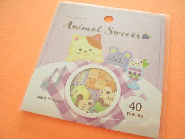 Photo1: Kawaii Cute Animal Sweets Sticker Flakes Sack Gaia *Cat (465733)