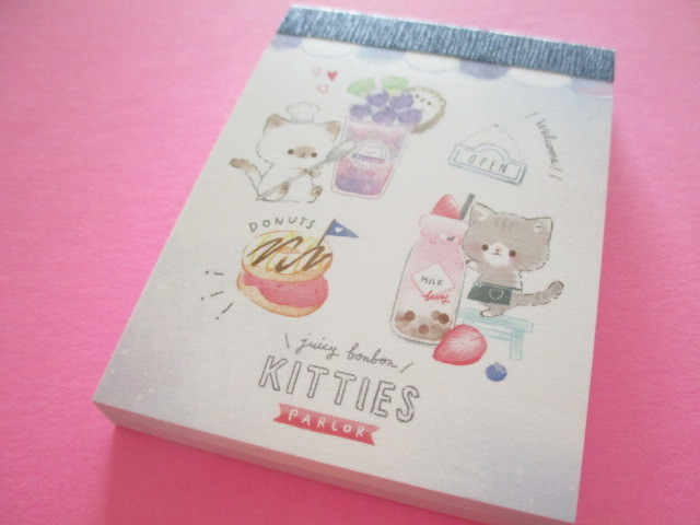 Photo1: Fruits Stationery Mini Memo Pad Q-LiA *ねこ Cat (44792)