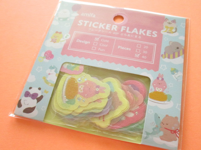 Photo1: Kawaii Cute Sticker Flakes Sack Amifa *Petit Animal