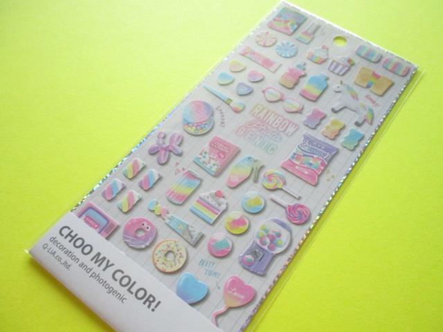 Photo1: Kawaii Cute Choo My Color Stickers Sheet Q-LiA *Favorite Rainbow (41173)