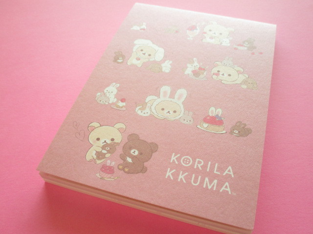 Photo1: Kawaii Cute Large Memo Pad Rilakkuma San-x *Korilakkuma & Usagi Teatime (MH01002)