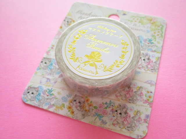 Photo1: Kawaii Cute Masking Tape Sticker  Amenomori Fumika  Clothes Pin *Flower (MT-13721)