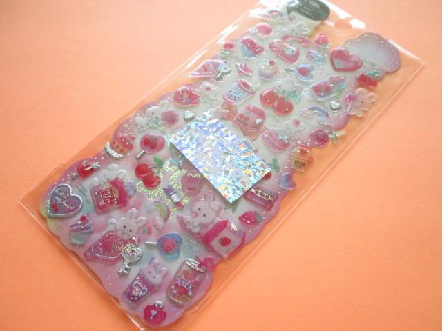 Photo1: Kawaii Cute Hapipi Animal Pop Stickers Sheet Q-LiA *Rabbit Pop (51018)