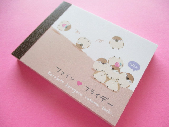Photo1: Kawaii Cute Mini Memo Pad Q-LiA *Fine Friday /Sparrow (50080)