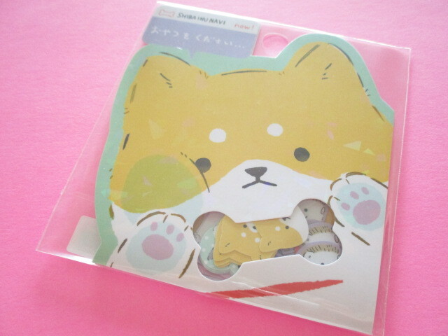 Photo1: Kawaii Cute Sticker Flakes Sack Q-LiA *Shiba Inu Navi (51045)