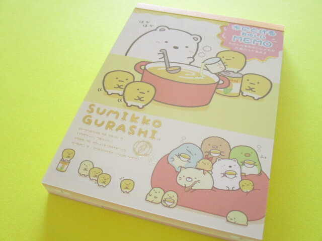 Photo1: Kawaii Cute Large Memo Pad Sumikkogurashi San-x *Shirokuma Corn Soup (MH02301)