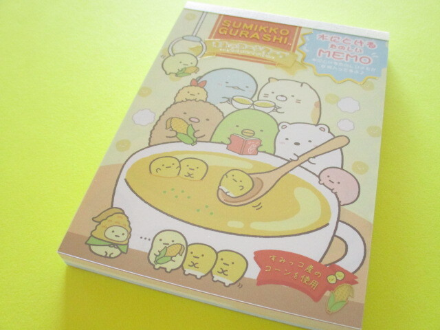 Photo1: Kawaii Cute Large Memo Pad Sumikkogurashi San-x *Shirokuma Corn Soup (MH02302)