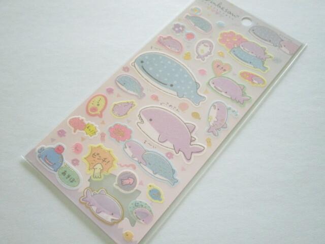 Photo1: Kawaii Cute Stickers Sheet Jinbesan San-x *Jinbesan & Samesan (SE50501)