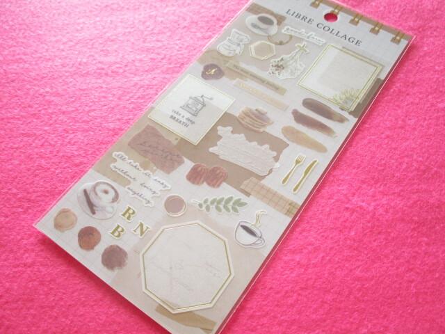 Photo1: Kawaii Cute Libre Collage Stickers Sheet Q-LiA *Brown (80776)