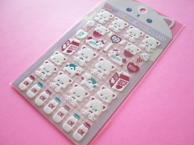 Photo1: Kawaii Cute Mofurin Stickers Sheet Lemon Co. (887268-03)