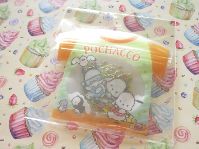 Photo1: Kawaii Cute T-shirt Summer Sticker Flakes Sack Sanrio Original *Pochacco (60781-9)