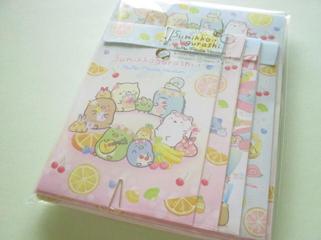Photo1: Kawaii Cute Regular Letter Set San-x Sumikkogurashi *Penpen Fruits Vacation (LH73101)