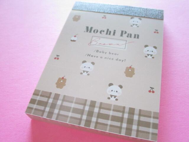 Photo1: Kawaii Cute Mini Memo Pad Mochi Mochi Panda Kamio Japan *Mocha Cherry (41438)