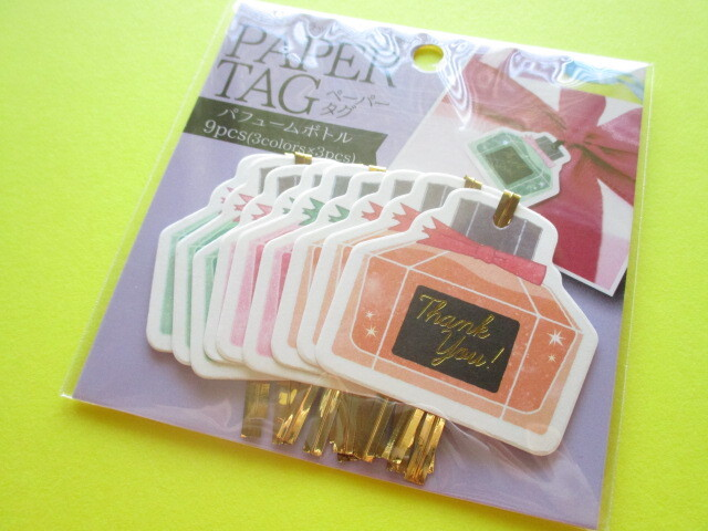 """Photo1: Paper Tags Set *Perfume Bottle (EE8-4011) """"Thank You!"""""""