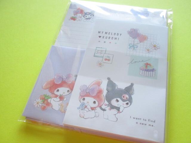 Photo1: Kawaii Cute Sanrio Letter Set Cute Model *My Melody & Kuromi (300477)