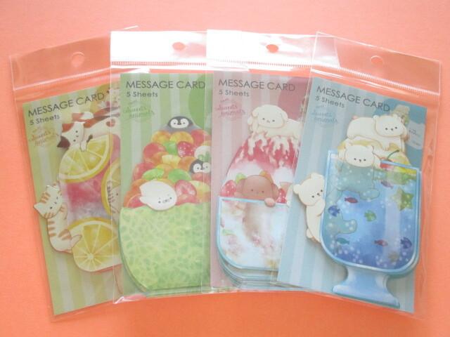 Photo1: 4 packs Kawaii Cute Fresh Sweets Animals Mini Message Cards Set Kyowa (42-099)