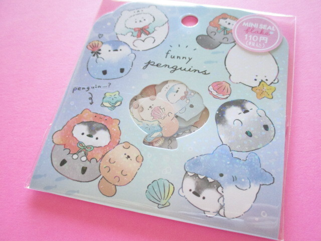 Photo1: Kawaii Cute Sticker Flakes Sack Crux *Funny Penguins (102671)