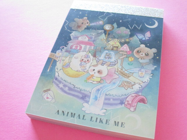 Photo1: Kawaii Cute Mini Memo Pad Animal Like Me Q-LiA *Nighttime (64039)