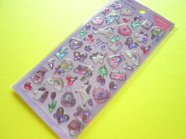 Photo1: Kawaii Cute Melty Couleur Candy Stickers Sheet  Q-Lia *Purple (61018)