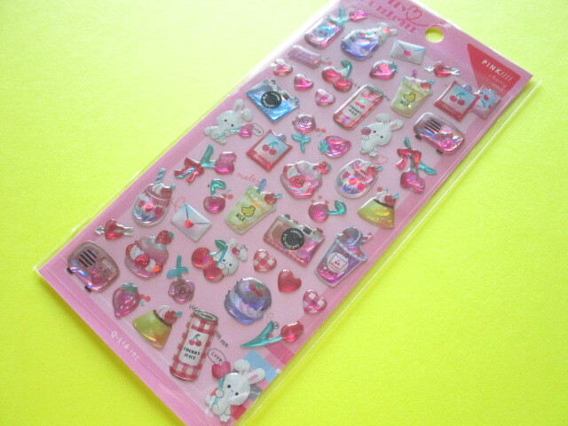Photo1: Kawaii Cute Melty Couleur Candy Stickers Sheet  Q-Lia *Pink (61017)