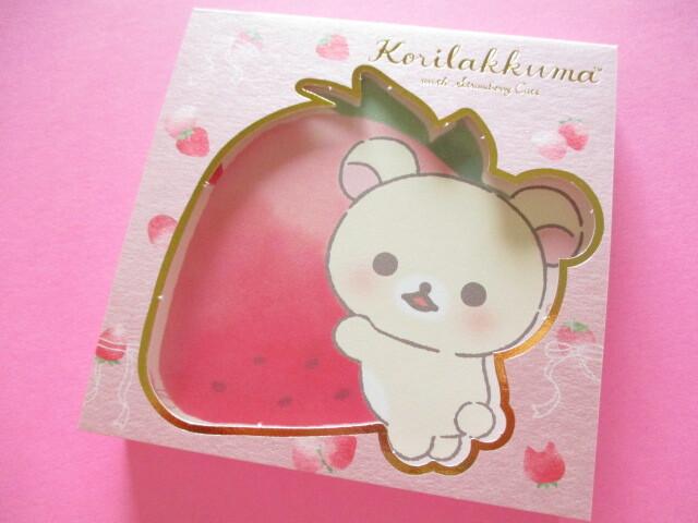 Photo1: Kawaii Cute Square Memo Pad San-x *Korilakkuma with Strawberry Cats (MH06102)