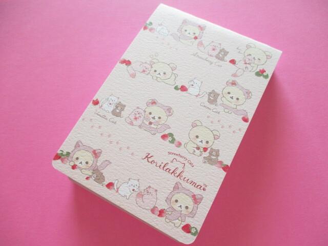 Photo1: Kawaii Cute Spiral Mini Memo Pad San-x *Korilakkuma with Strawberry Cats (MH06202)