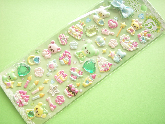 Photo1: Kawaii Cute Birthstone Jewel Sticker Sheet May Emerald
