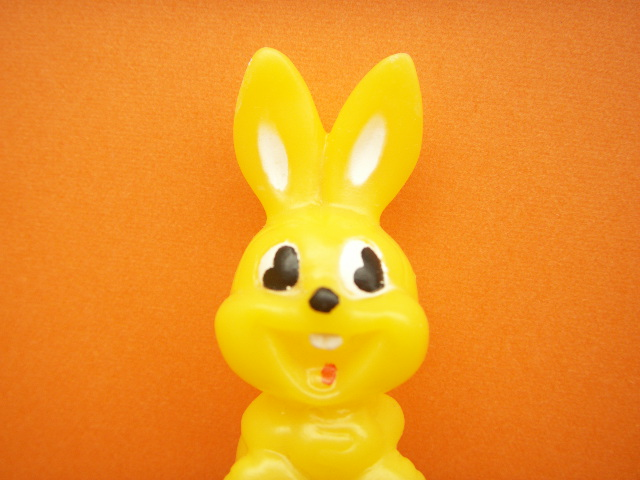 Photo1: Kawaii Cute Tiny Bunny Doll Kitschy Toy Yellow Retro Japan