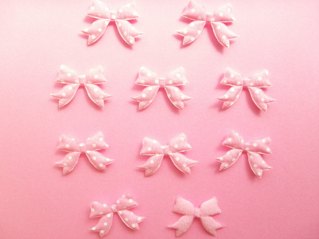 Photo1: 10 pcs Kawaii Cute Craft Supplies Padded Ribbon Bow Applique Polka Dots Pink